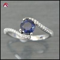 Fashion jewelry 925 sterling silver blue spinel ring new product 2.35g