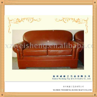 Wood leather loveseat home furniture