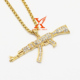 Hip Hop Iced Out AK-47 Machine Gun 14k Gold Over Stainless Steel Pendant