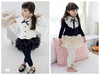 Lace Splicing Child Clothes Knitted Cardigan Girls Coat For Wholesale