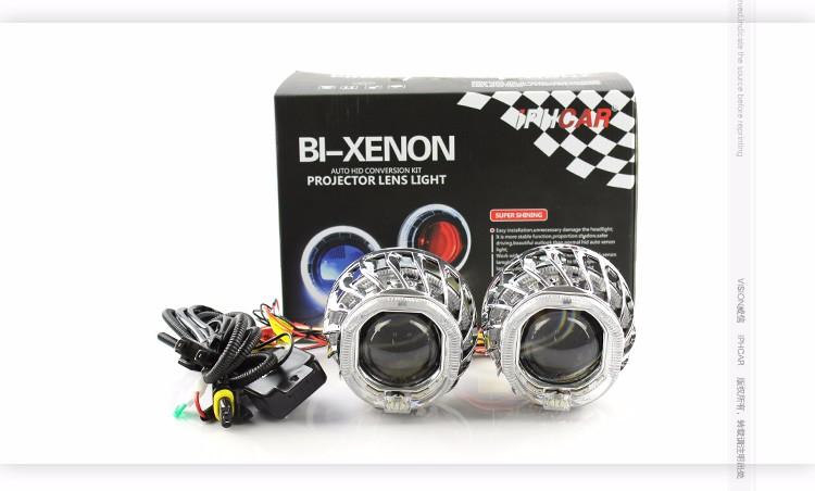 Top selling mini car projector lens H1 hid xenon bulb hid bi xenon projector lens with double light guide angel eyes