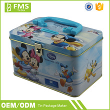 Custom Made Full Color Printed Small Handle Tin Box With Metal Lock For Packing Sweets