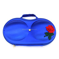 Fashion portable eva Floral Pattern Fabric Travel Bra Storage Case with Zipper closure and carrying handle