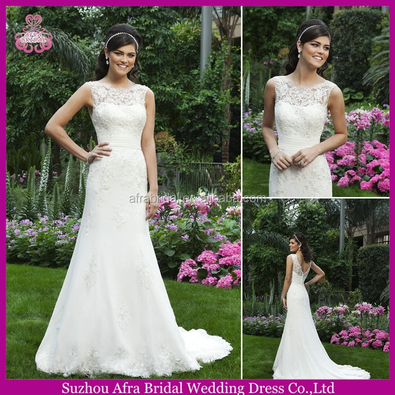 SD2198 sheer lace top sheath lace wedding dresses beach wedding dress italy