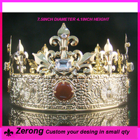 Wholesale gold imperia copper metal crystal full circle king crown tiaras