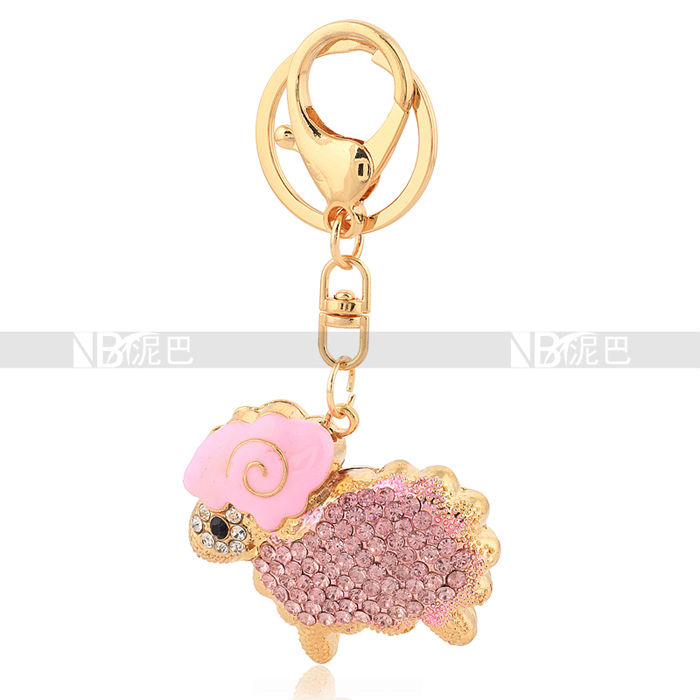 2016 Fashion Gift, Small Cute Crystal Sheep Keychains/ Girls keychain, Quality Alloy With Rhinstone, Wholesale