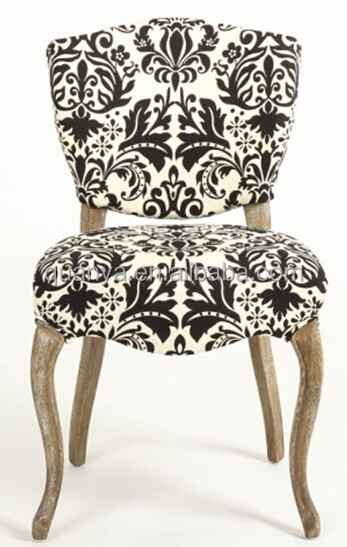 European style baroque oak fabric hotel dining chairs