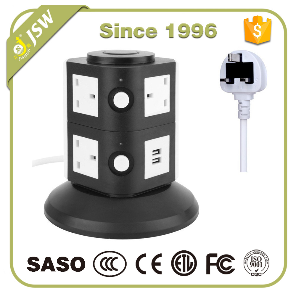 7 gang dual usb outlet universal electric switch and socket tower type UK plug 230v