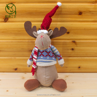 35CM Fabric Sittiing Christmas Moose Toy_ Plush Stuffed Moose for Holiday Decoration