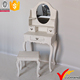 French Country Wood White Antique Bedroom Furniture Dressing Table With Stool