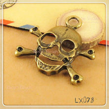 Antique Bronze Skull and Crossbones Charms 22x38mm