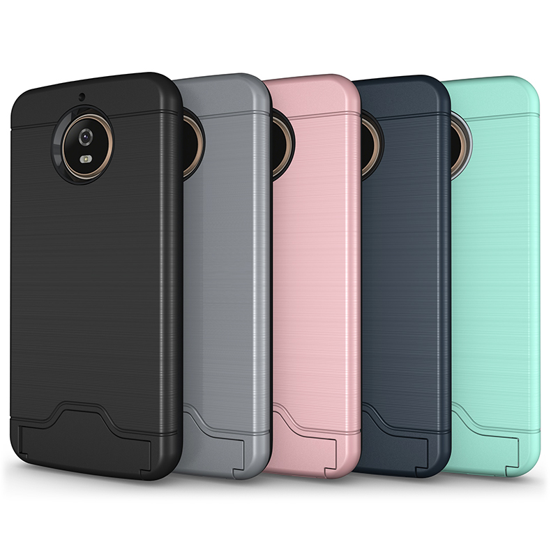 Hot sale Hybrid PC+TPU Brushed line Card Slot Kickstand <strong>shock</strong> absorption technology bumper phone cover case for MOTO G6