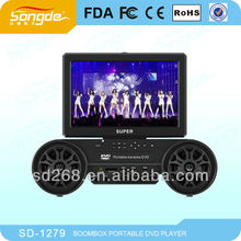 12inch large screen portable dvd player with tv tuner,two mini speaker for enjoying KTV anywhere