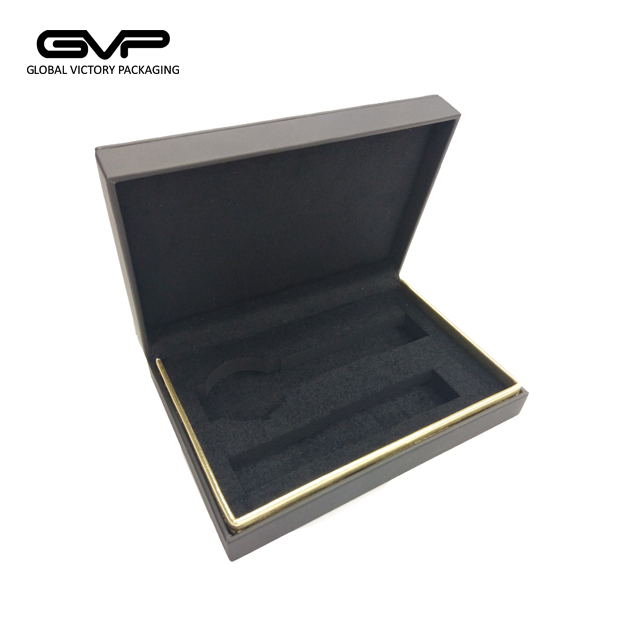 unique design popular flat plastic black watch box leather for watch and strap wholesale