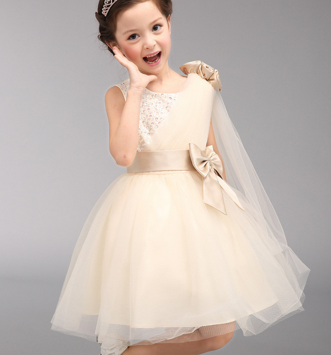2016 New fashion model baby girl birthday dress knot beaded princess party dress