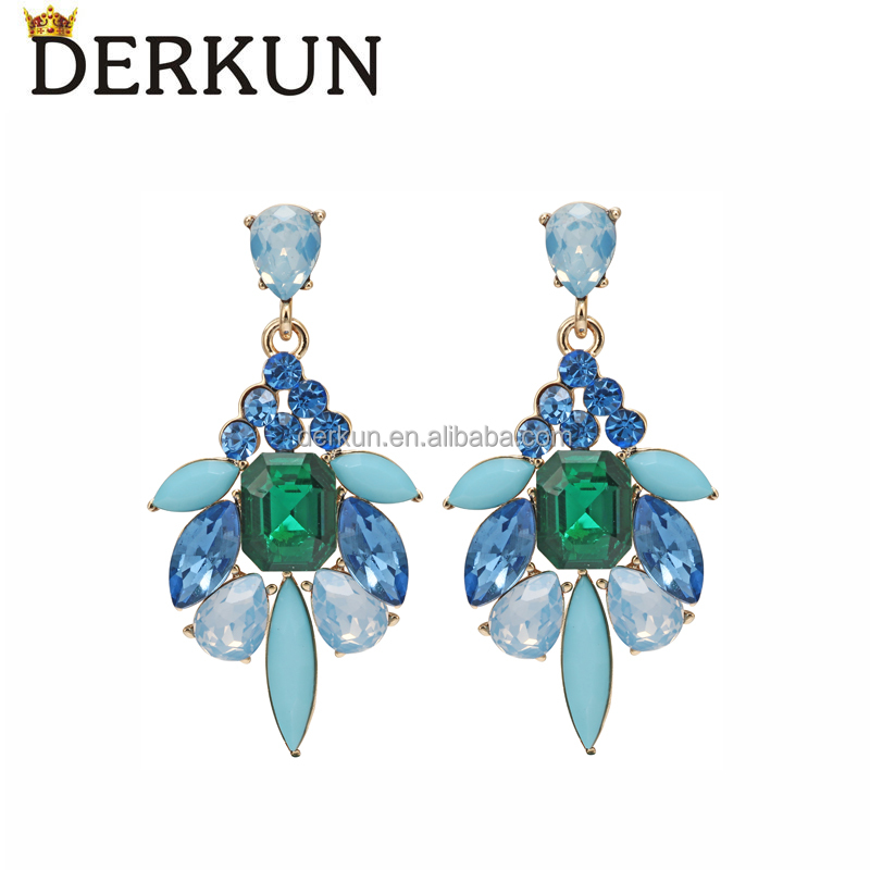 New 2016 Latest Gold Earring Designs Natural Gemstone Pendant Women Earring Flowers Jewelry