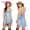 Backless Harness Sky blue Velvet Lady Fashion Summer Sexy Women'S Dress