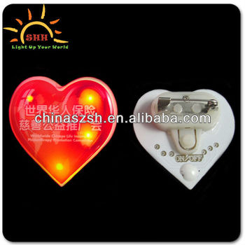 Heart Shape Blinking Badges LED Custom hape Name Badges