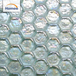 Bathroom Wavy Cracked Broken Light Color Mix Iridescent Crystal Hexagon Glass Mosaic Tile