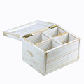 Wood factory handmade FSC wooden shabby chic tea storage box
