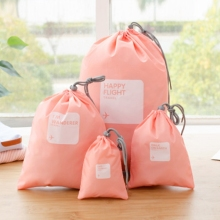 Wholesale Nylon Drawstring Pocket Drawstring Bag Four Piece Waterproof Organizer Travel Bag