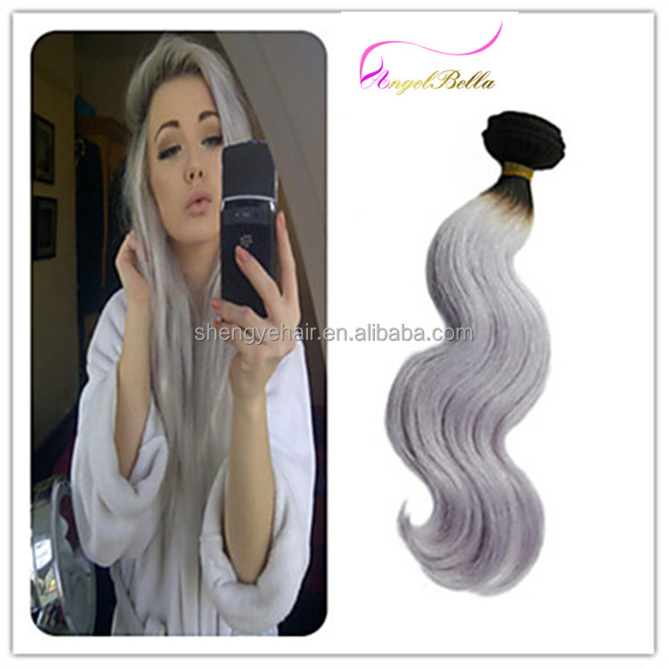 Angelbella Factory Price Grey Ombre Hair Wholesale 6a Body Wave Grey