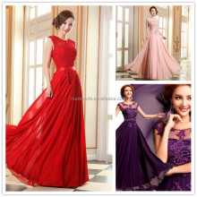 In stock 2016 Floor Length desinger beading applique prom evening dresses long Purple Bridesmaid dresses