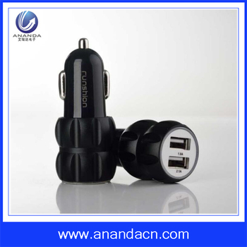 Multifunctional aluminium alloy dual car adapter for ios android