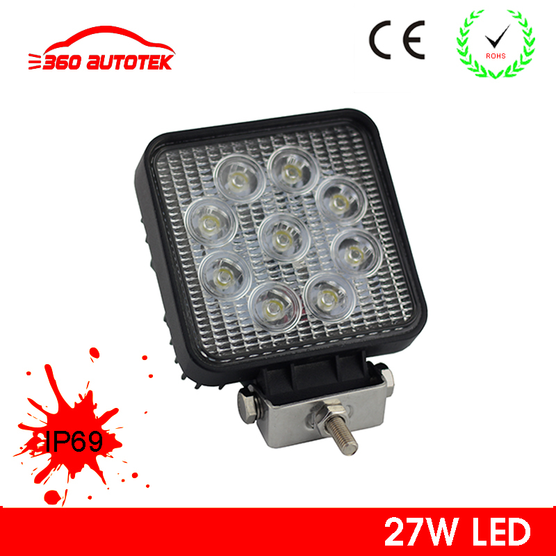 High quality round square shape CE ROHS listed waterproof spot 27w led work light for car
