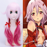 "Guilty Crown Yuzuriha Inori Cosplay Wigs 60cm 24"" 150g Pink And Red Heat Resistant Synthetic Hair Long Straight for Women Anime"