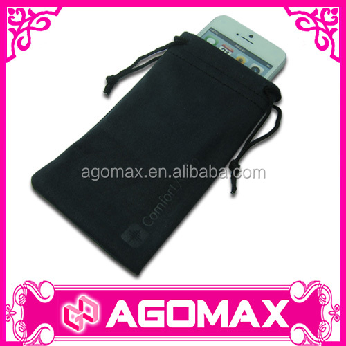 Custom microfiber drastring promotion cell phone pouches