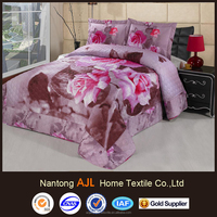 2016 cotton 3D flower quilted pink bedspread set coverlet