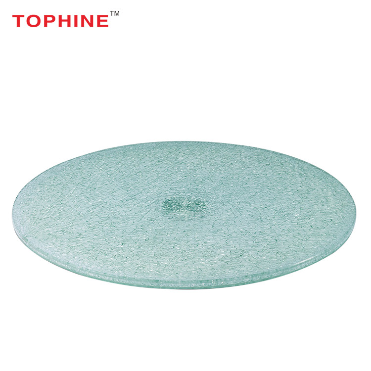 TOPHINE Furniture Restaurant Colored Round Tempered Glass Cracked Glass  Table Top