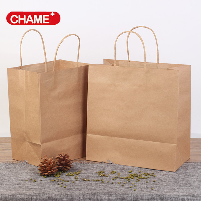disposable food package take out custom printed paper bags with paper handle