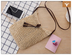 Simple and Elegant Crochet Messenger Hand-woven Straw Bag