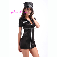 2016 New Design Police Costume Girls Black Sexy Costume