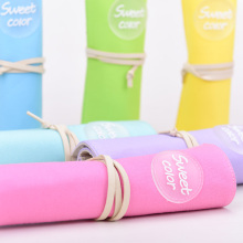 Languo New colored roll up canvas school pencil case for wholesale