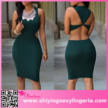 Western Evening Ladies New Design green formal dress