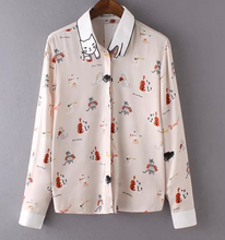 Lady's individual design chiffon animal printing long sleeve blouse