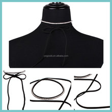 EU & US fashion style simple leather & suede strap long choker necklace