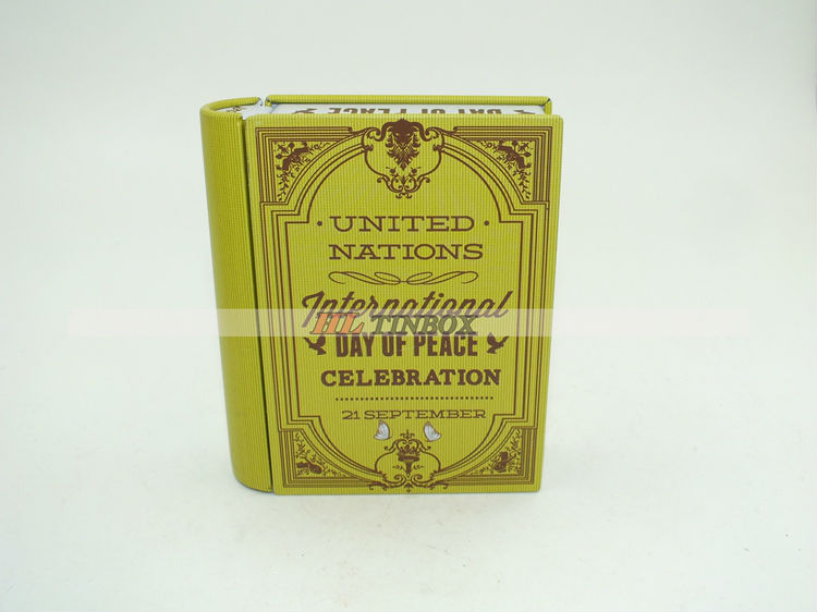 High-end Printed Rectangle Book Shape Tin Box