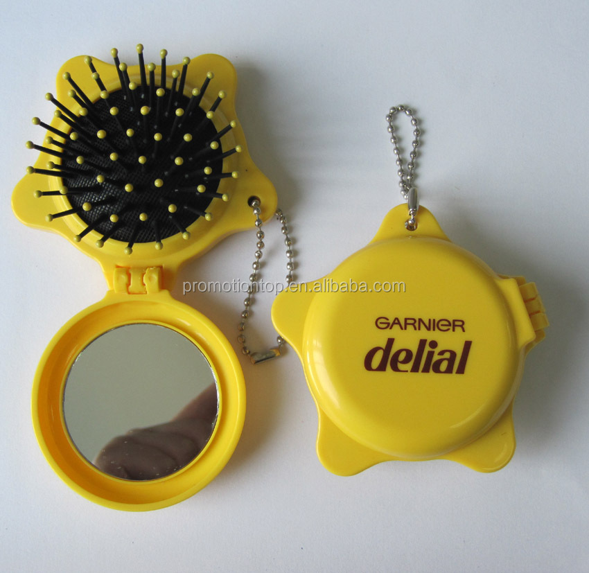 Star Shaped Girls Pocket mirror with hair brush