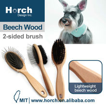 Grooming tool wooden handle dog round tip pin brush madan