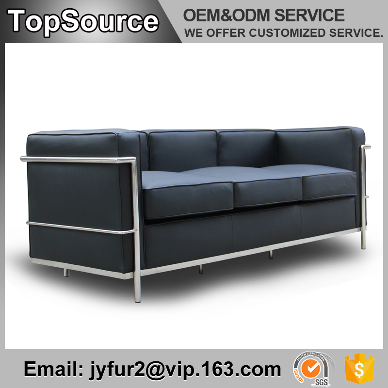 High Quality Custom Contemporary Furniture Stainless Steel Frame Leather Sofa