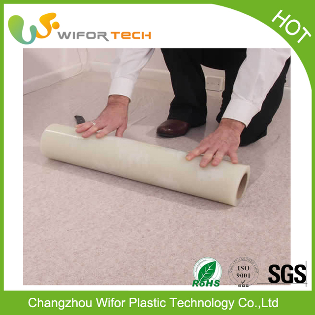 Alibaba Supplier PE Material Temporary Self Adhesive Clear Carpet Protector Mat