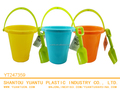 Summer Wholesale 2PCS beach bucket pure color with green shovels
