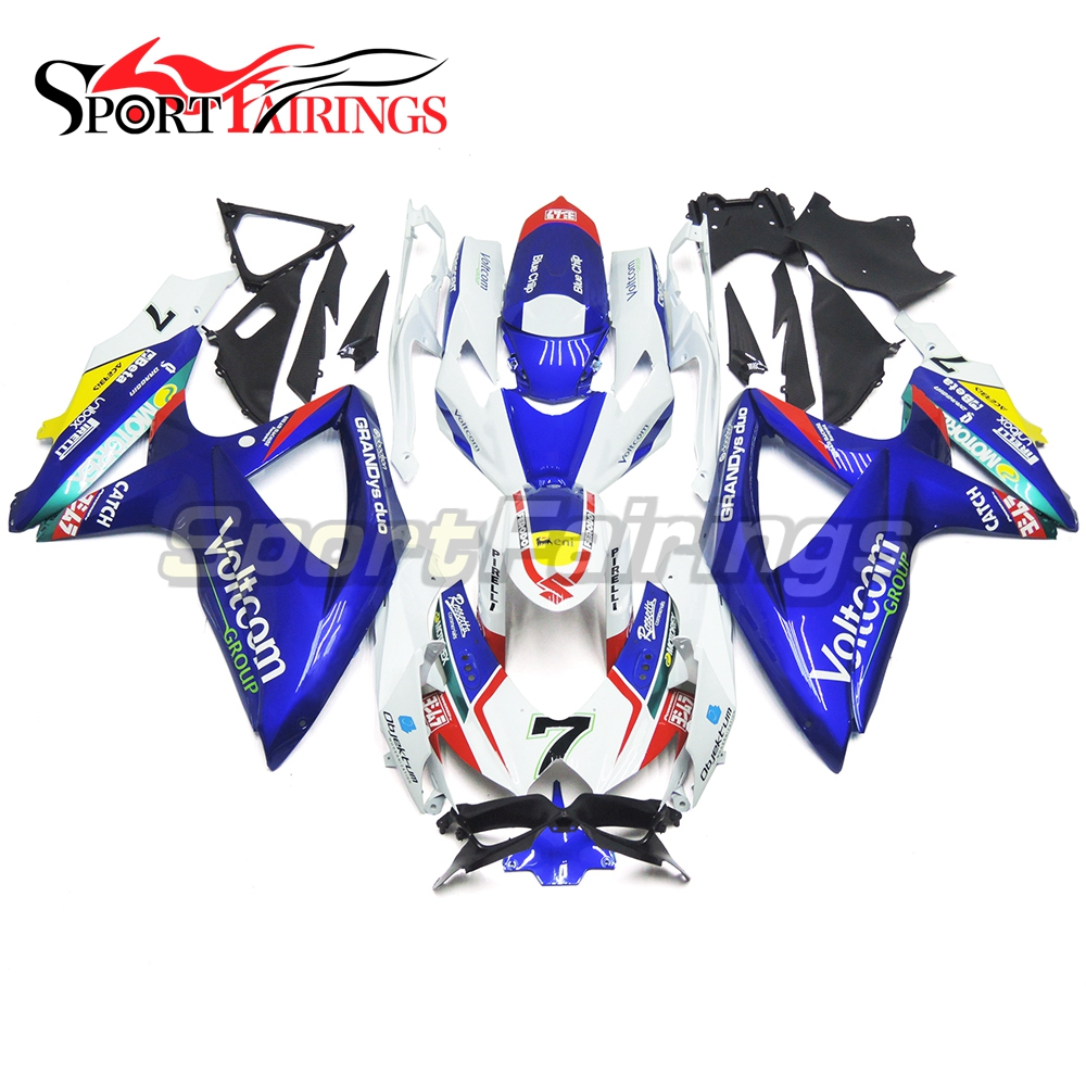 7 Blue White Motorcycle Injection ABS Plastic Fairings For Suzuki GSXR600 GSXR750 K8 2008 2009 2010 Complete Fairing Kits
