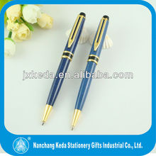 classical sapphire blue twist metal ballpoint pen with brooch clip