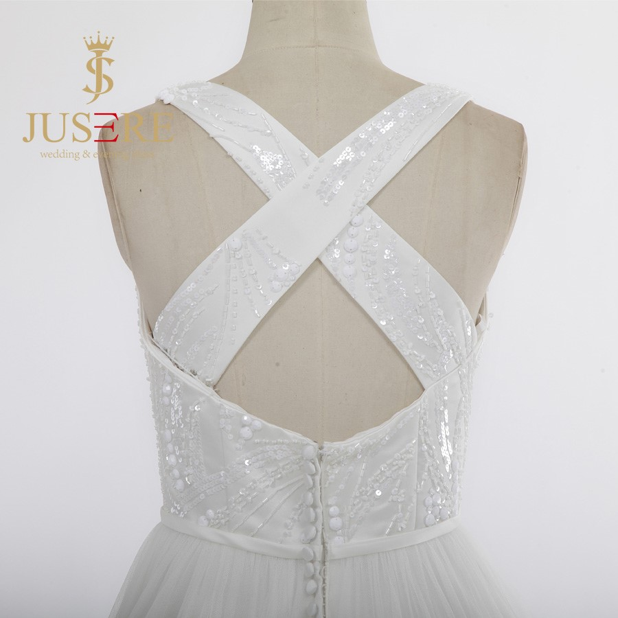 Latest A Line Handmade Sequined Beaded Criss-Cross Back Scoop Ivory Wedding Dresses 2016