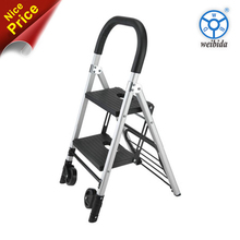 WBD Stable and easy moving aluminum step ladder with wheels
